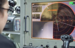 Sonar screen in ship